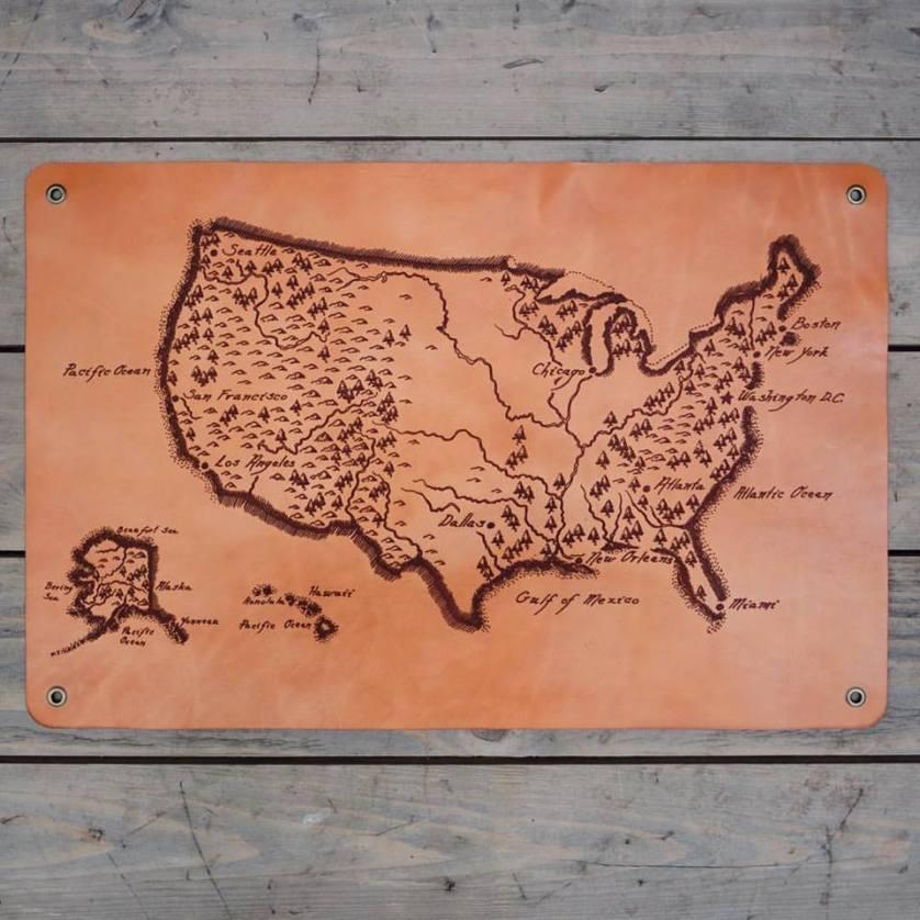usa leather map big