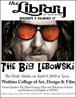 david lavery speech at lebowski event poster