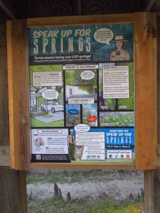 Speak Up For Springs Sign on the Suwannee River