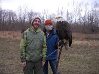 Me and Patriot, the Bald Eagle at the World Bird Sanctuary in St Louis