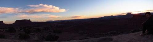 Sunset and Raisin Rob at Murphy Hogback Campsite Panorama