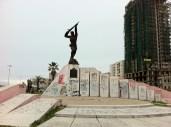 Durres. Little kids slide down this monument.