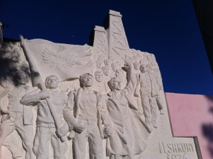 Kucove, the oil region of Albania. this monument celebrates a workers strike during the Italian occupation.