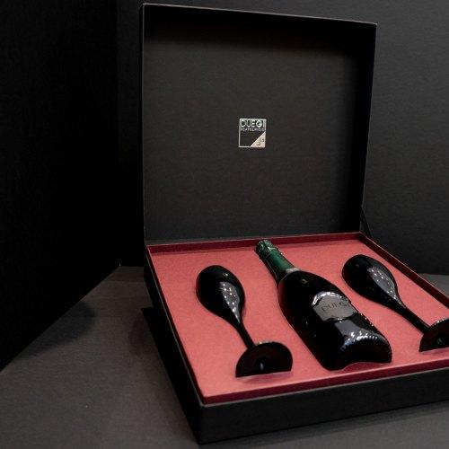 Scatole cofanetto bottiglie e bicchieri