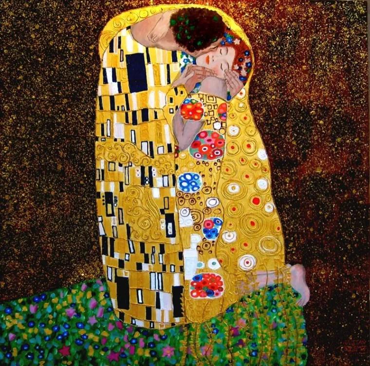 Gustav Klimt, Il Bacio, 1907–1908, 1,80 m x 1,80 m, Österreichische Galerie Belvedere
