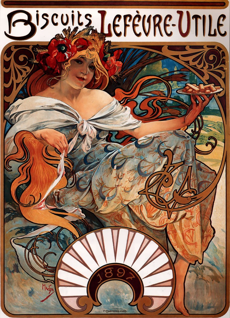 Biscuits Lefèvre-Utile by Alphonse Mucha (1896)