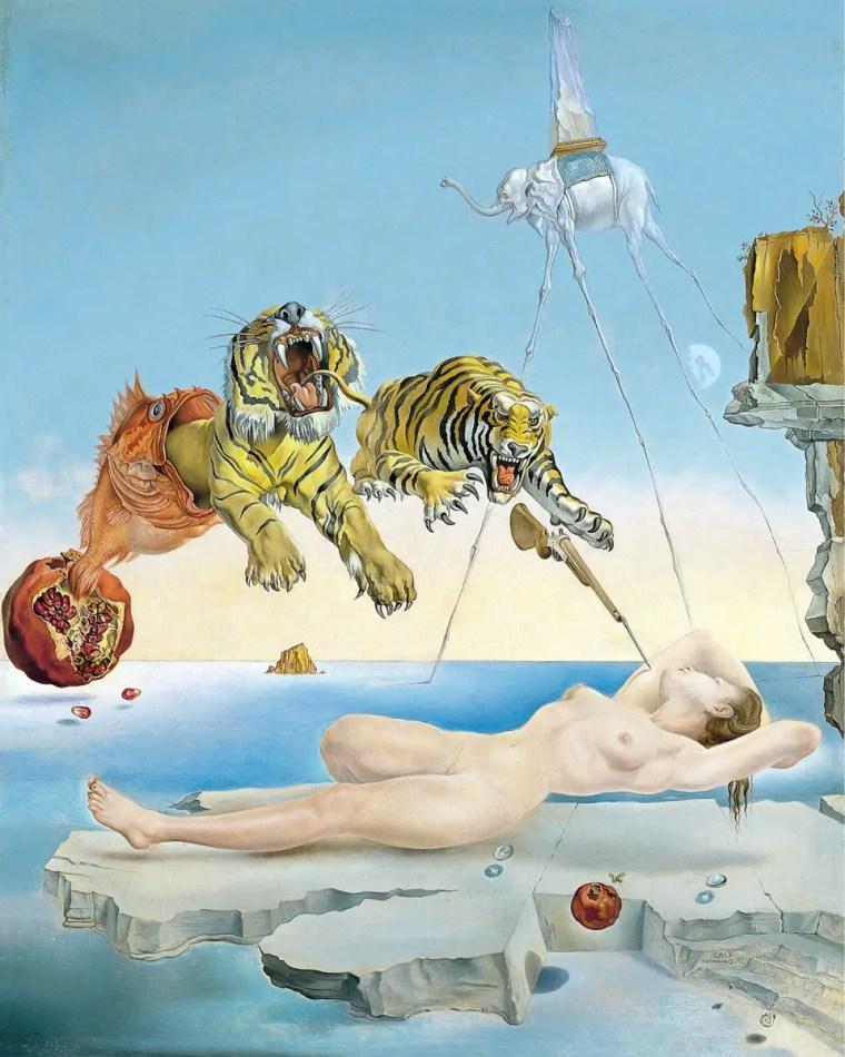 Salvador Dalì. Sogno causato dal volo di un'ape intorno a una melagrana un attimo prima del risveglio,
