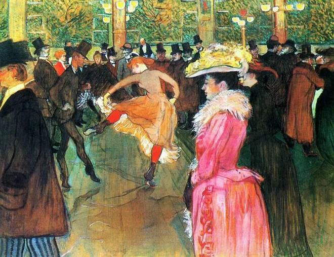 Henri de Toulouse-Lautrec, Ballo al Moulin Rouge, 1889-1990, olio su tela, 115×150 cm, Museum of Art, Filadelfia