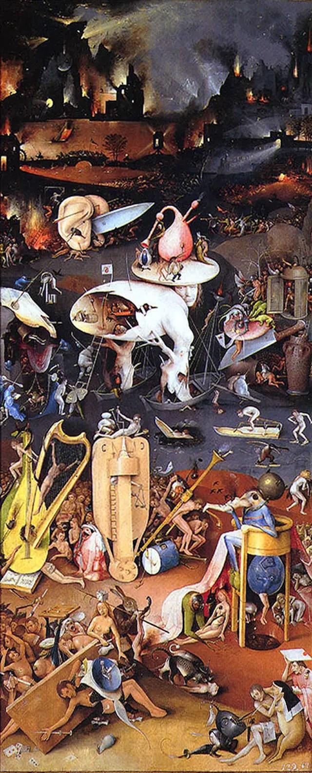 Hieronymus Bosch, Inferno musicale (parte destra del Trittico delle delizie), 220×389 cm, olio su tavola, Museo del Prado, Madrid
