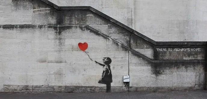 Una delle opere più famose di Banksy, realizzata su di un muro di South Bank a Londra, nel 2007