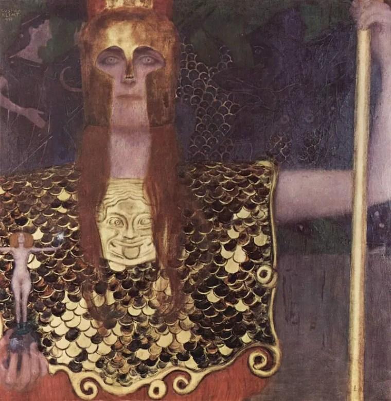 Gustav Klimt, Pallade Atena, 1898, olio su tela, 75×75 cm, Wien Museum, Vienna