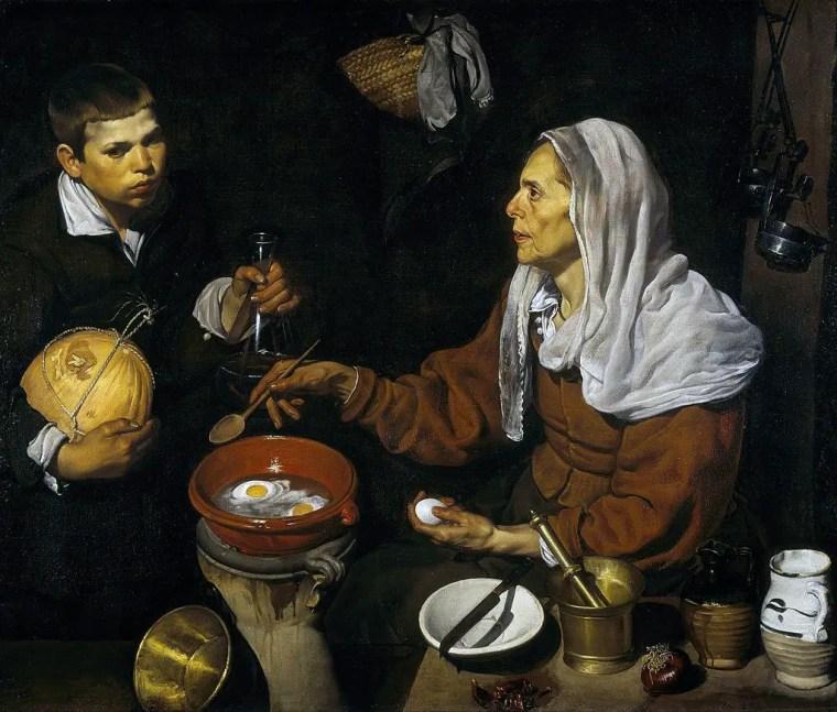 Diego Velázquez. Vecchia che frigge le uova, 1618, olio su tela, 100,5×119,59 cm, National Gallery of Scotland, Edimburgo