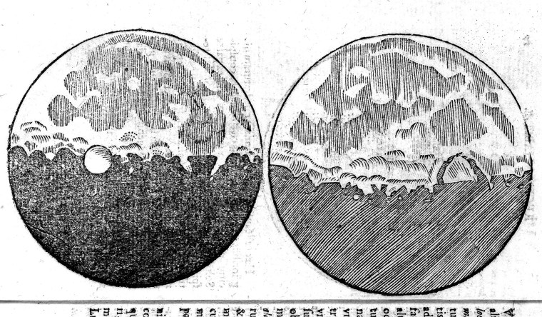 Le pagine del Sidereus Nuncius in cui Galileo descrive con grande precisione la superficie lunare