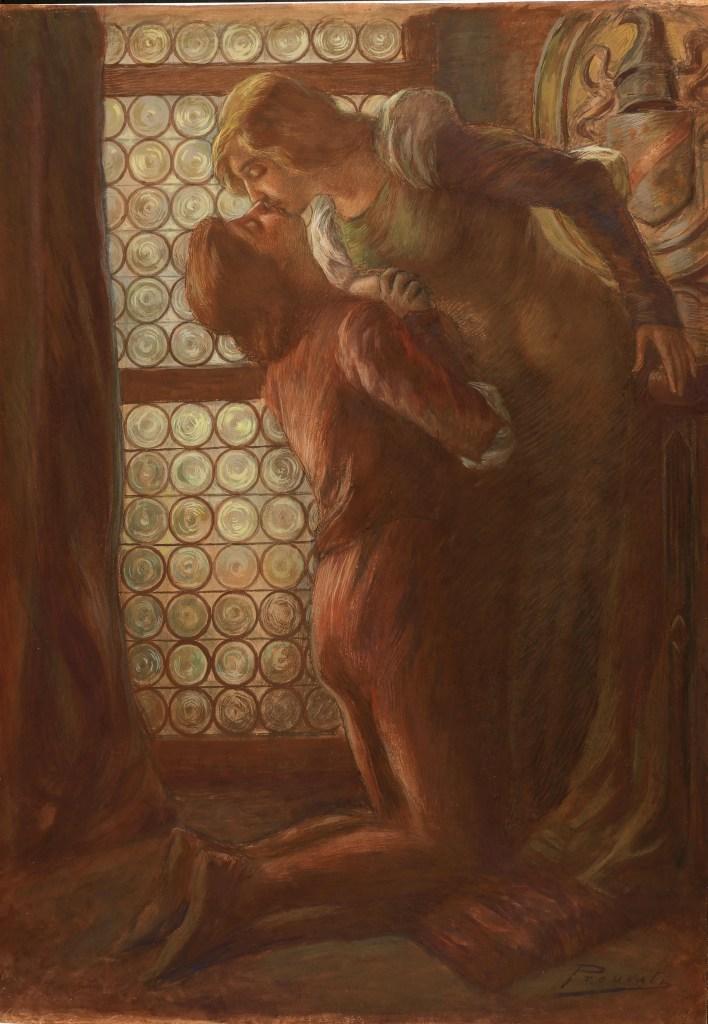 Gaetano Previati, Bacio, olio su cartone