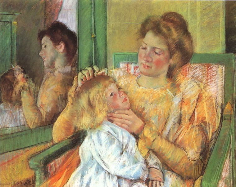 Mary Cassat, Mother Combing her Child's Hair, 1879, Brooklyn Museum