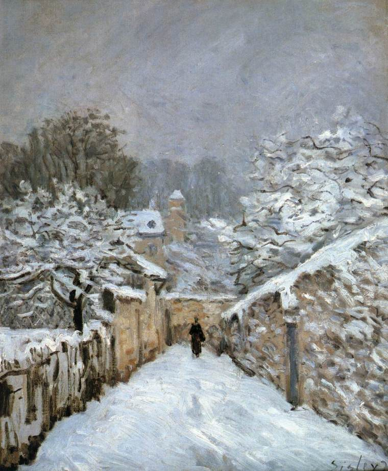 Alfred Sisley, Neve a Louveciennes (1874); olio su tela, 22x18 cm, Phillips Collection, Washington