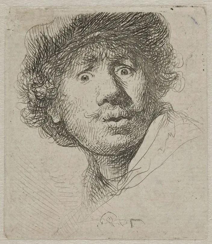 Rembrandt, Autoritratto con berretto e bocca aperta, 1630, incisione, Rijksmuseum, Amsterdam