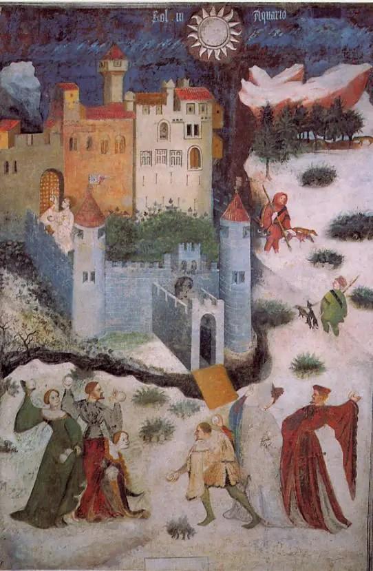 Maestro Venceslao (attribuito), Ciclo dei mesi – Gennaio, XV secolo, Castello del Buonconsiglio, Trento