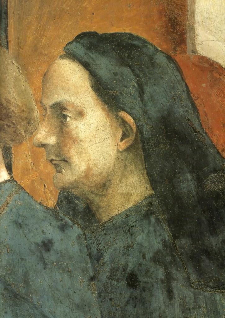 Presunto ritratto di Brunelleschi, Masaccio, San Pietro in cattedra (1423-1428), Cappella Brancacci, Firenze