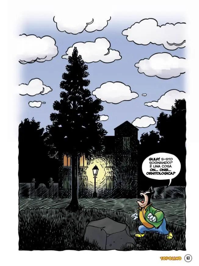 """L'opera di Magritte """"L'impero delle luci"""" in una storia di Topolino"""