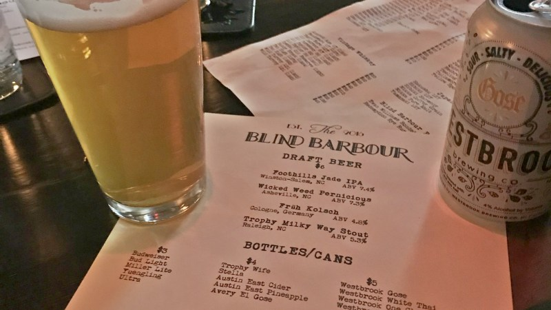 Drinks At The Blind Barbour In Raleigh, NC