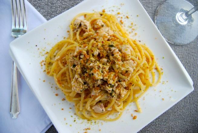Spaghetti pesce spada e pistacchi