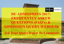 DU Admissions 2017 : Frequently Asked Questions (FAQ's) & Admission Query Web-Desk