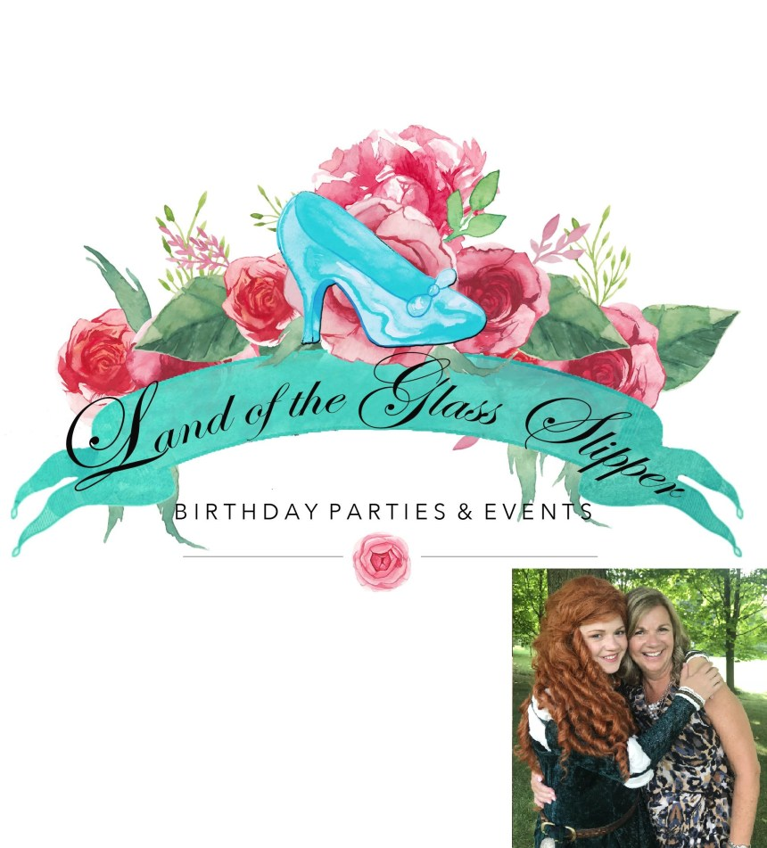 Logo for Land of Glass Slipper, with a picture of the owners.