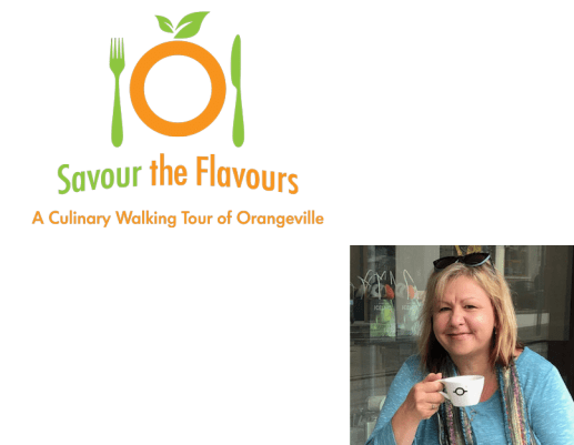 The logo for Savour the Flavours, with a photo of the owner.