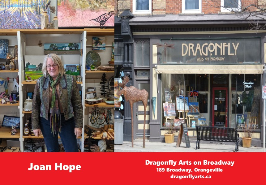 The owner of Dragonfly Arts on Broadway, Joan Hope, inside the store. A second photo is of the front of Dragonfly Arts.