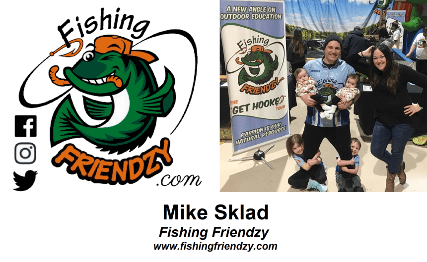The logo for Fishing Friendzy, and a picture of the founder, Mike Sklad, with his family.