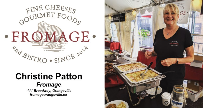 The logo for Fromage, along with a photo of the owner, Christine Patton.