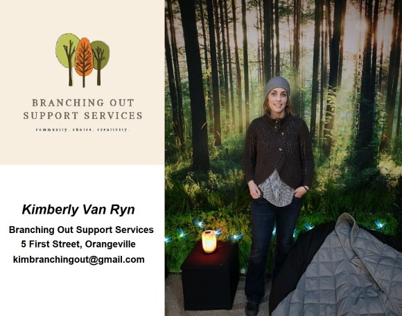 A photo that includes the logo for Branching Out Support Services, along with the owner, Kimberly Van Ryn