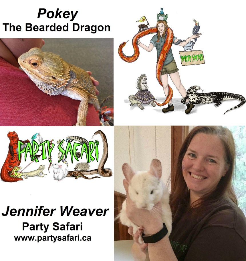 A picture of Jennifer Weaver, the owner of Party Safari. There are also photos of Party Safari's logo and Pokey the Bearded Dragon.