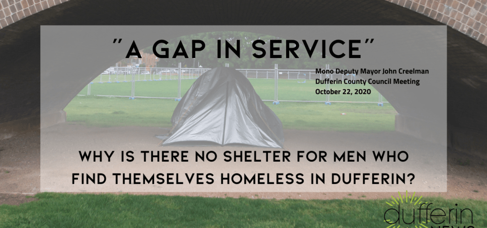 Why is there no shelter for homeless men in Dufferin?