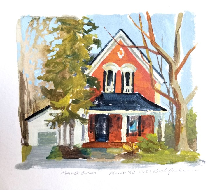 A painting of a house