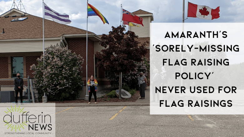 AMARANTH'S 'sorely-missing flag raising policy' NEVER USED FOR FLAG RAISINGS