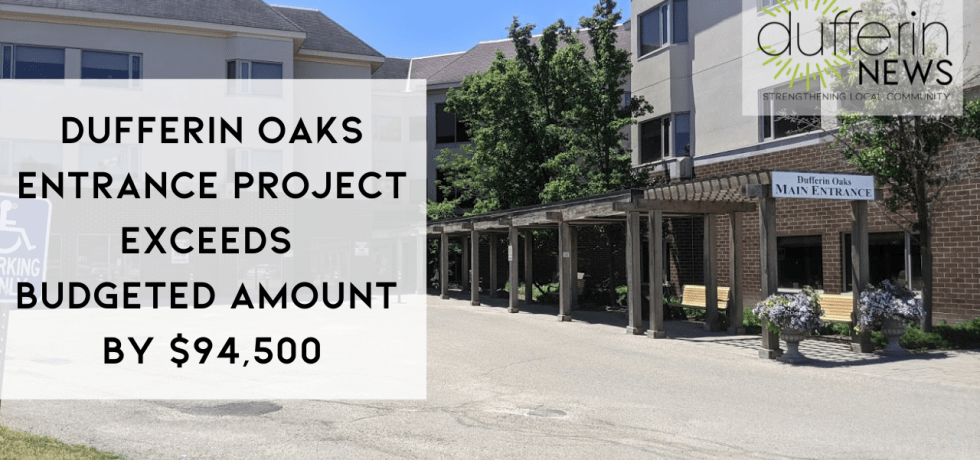DUFFERIN OAKS ENTRANCE PROJECT EXCEEDS BUDGETED AMOUNT BY $94,500