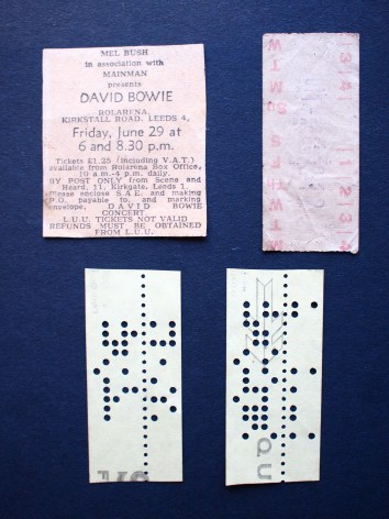 Ziggy at Leeds ad and my bus ticket. The computer tapes say DAvid Bowie and Mott the Hoople. I made them on a school trip to Leeds Uni.