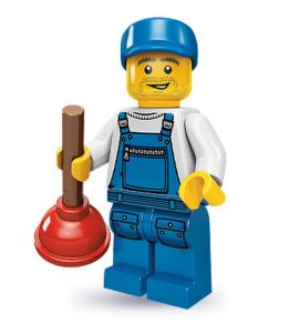 Lego collectable series 9 minifig plumber with toilet bathroom plunger tool (city) - large