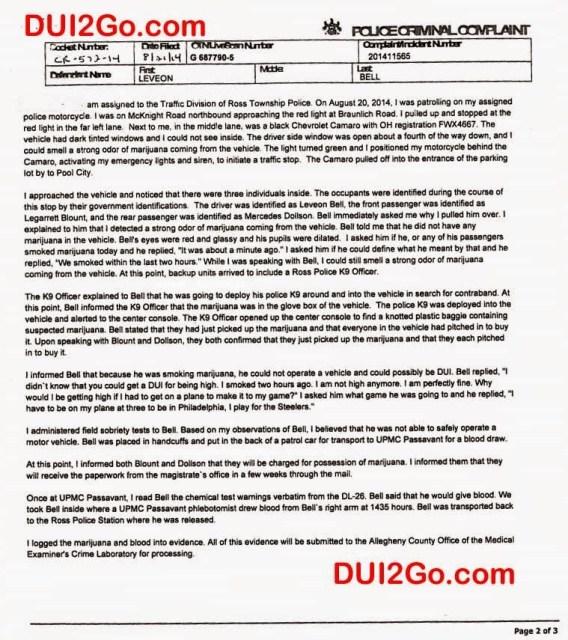 Le'Veon Bell Marijuana DUI Arrest Police Report