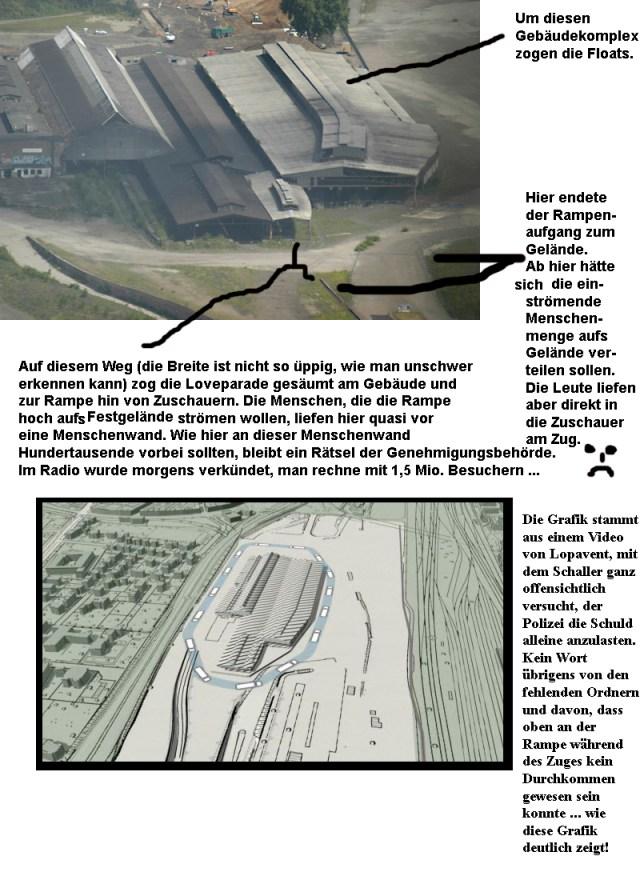 Das Loveparade-Gelände: Luftaufnahme und Grafik des Veranstalters