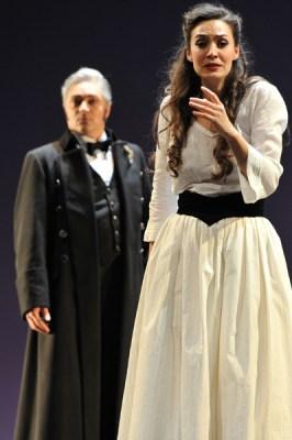 Brigitta Kele (Violetta Valéry), Laimonas Pautienius (Giorgio Germont). Foto: Hans Jörg Michel.
