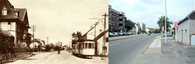 Düsseldorfer Landstraße in Buhcholz um 1920 und heute. Fotos: Zeitzeugenbörse Duisburg.