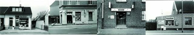 """Vier Fotos aus der Ausstellung """"Trinkhallen und mehr"""". Fotos: Tata Ronkholz."""