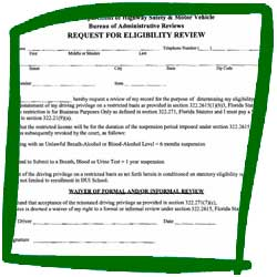 Florida DHSMV Request for Eligibility Review Form