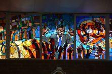 Stained glass art of Mandela at the Regina Mundi Church