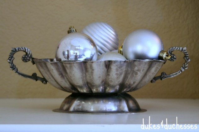 Silver Ornaments in Vintage Dish | #silverandgold #christmas #christmasdecor