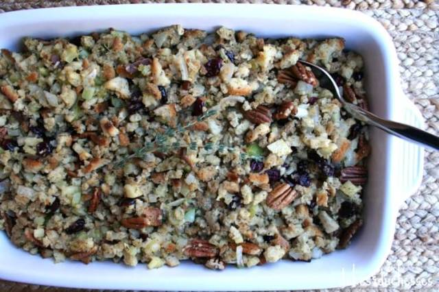 stuffing with apples, pecans, cranberries