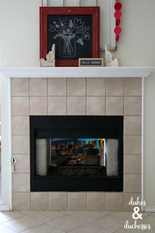 how to paint a tile fireplace dukes